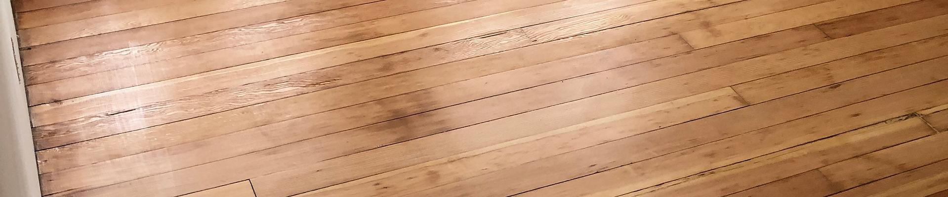Close-up of wooden floor refinished