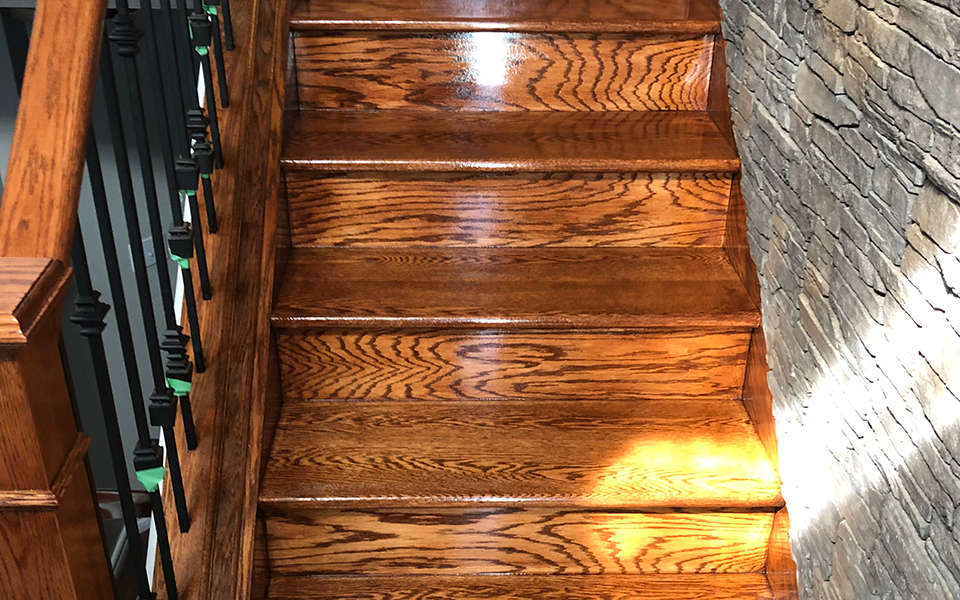 Finished wooden stairs with new stain